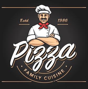 Pizzería emblema diseño