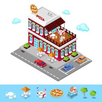 Pizzería isométrica. restaurante moderno con zona de estacionamiento. gente en pizzería. ilustración vectorial