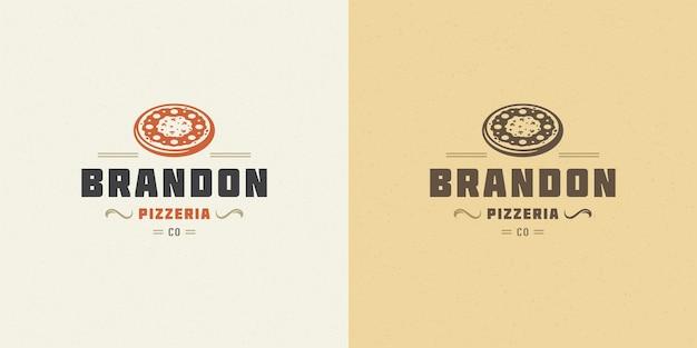 Pizzeria logo vector illustration pizza silueta buena para el menú del restaurante y la insignia de la cafetería