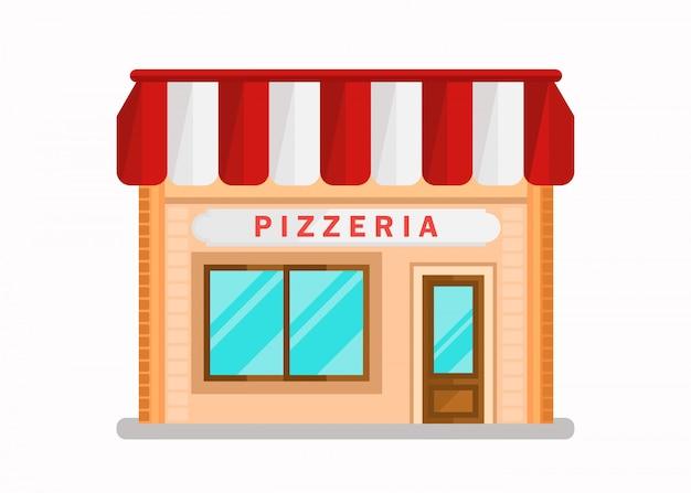 Pizzería moderno edificio plano ilustración vectorial