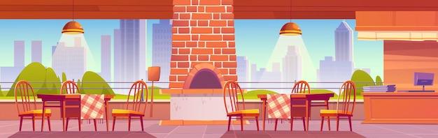 Pizzería o café familiar al aire libre con horno para pizza en el fondo del paisaje urbano, acogedora cafetería al aire libre vacía con mostrador de caja, mesas y sillas de madera en la ilustración de dibujos animados de estilo rústico