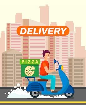 Pizzería trabajador repartiendo cena ilustración