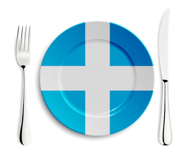 Placa con bandera de grecia