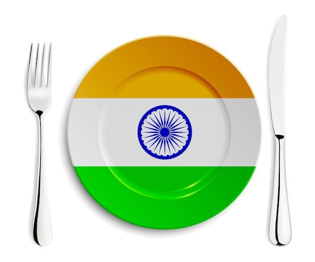 Placa con bandera de la india