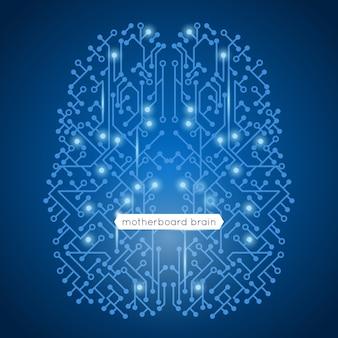 Placa base de circuito de computadora en tecnología de forma de cerebro e ilustración de vector de concepto de inteligencia artificial