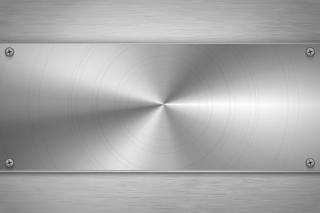 Placa en blanco de metal pulido sobre papel metalizado gris brillante, fondo industrial