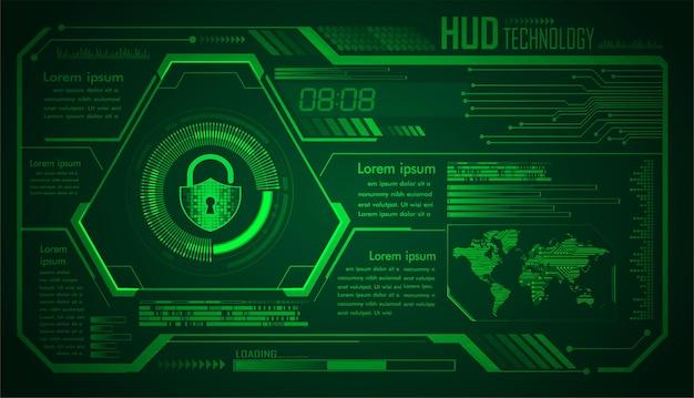 Placa de circuito binario mundial tecnología futura fondo azul del concepto de seguridad cibernética de hud