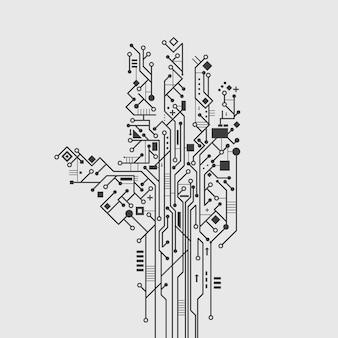 Placa de circuito de computadora en forma de mano creativo tecnología cartel vector ilustración