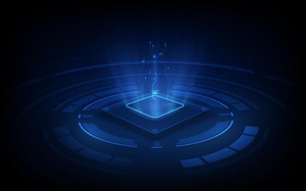 Placa de circuito de fondo de procesador de chip de tecnología abstracta y código html, fondo de tecnología azul.