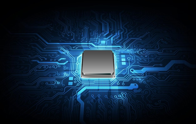 Placa de circuito de fondo de procesador de chip de tecnología abstracta y código html, vector de fondo de tecnología azul de ilustración 3d.