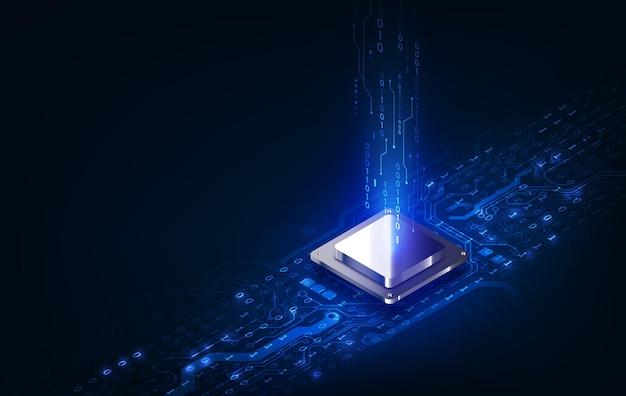 Placa de circuito de fondo de procesador de chip de tecnología abstracta y código html, vector de fondo de tecnología azul de ilustración.