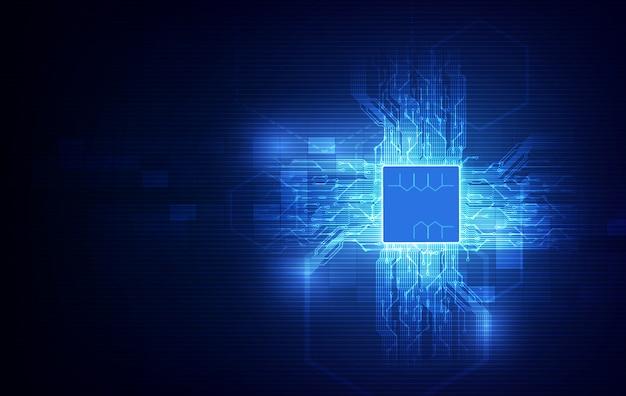 Placa de circuito de fondo de procesador de chip de tecnología abstracta y código html, vector de fondo de tecnología azul.