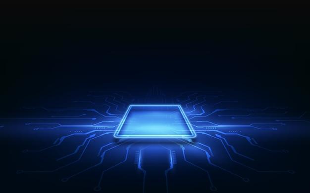 Placa de circuito de fondo de procesador de chip de tecnología abstracta