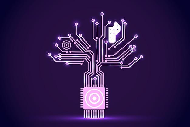 Placa de circuito en forma de árbol electrónico. elementos vectoriales electrónicos para diseño cibernético.