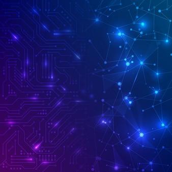 Placa de circuito futurista. placa base electrónica y red abstracta. concepto de comunicación e ingeniería. fondo de tecnología digital. ilustración vectorial
