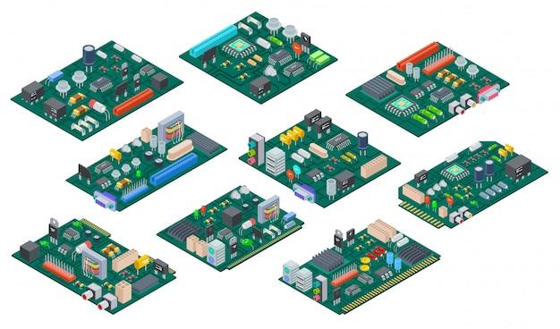 Placa de circuito isométrica. componentes electrónicos de la placa base. microchip semiconductor, diodo. piezas de vector de hardware