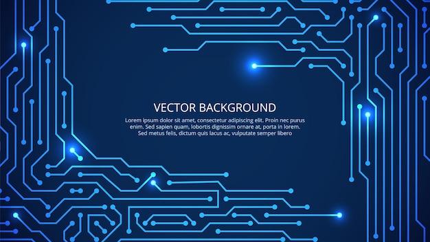 Placa de circuito. pared azul de tecnología digital. innovación, rejilla de la industria del tablero o concepto de internet. inteligencia artificial de la placa base. circuito de la placa base, ilustración científica