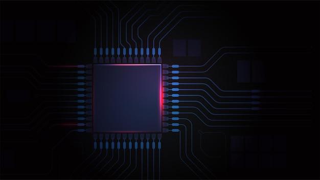 Placa de circuito de la placa base de la computadora con chip de cpu potencia de la luz en el procesador fondo oscuro