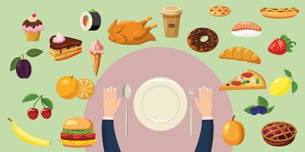 Placa de concepto de fondo horizontal de alimentos