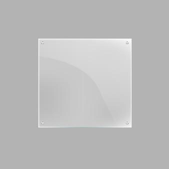 Placa de cristal cuadrada en blanco aislada
