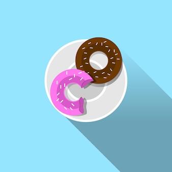 Placa con donut icono de vista superior sobre fondo azul