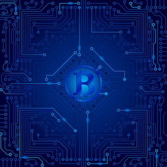 La placa electrónica de la computadora en color azul con un bitcoin en el centro.
