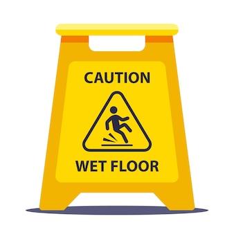 Placa de información amarilla precaución piso resbaladizo. lavar los pisos en la escuela. ilustración de vector plano aislado sobre fondo blanco.
