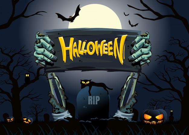Placa de mano de fiesta de zombies de halloween fiesta de halloween.