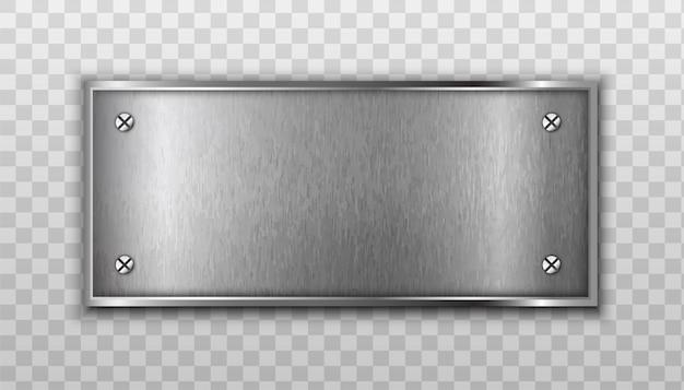 Placa de metal aislada en transparente