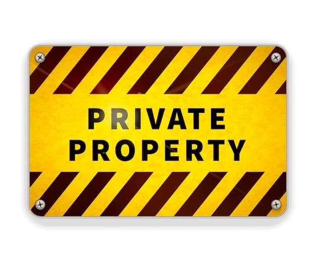 Placa de metal brillante brillante, plantilla de señal de advertencia de propiedad privada en blanco