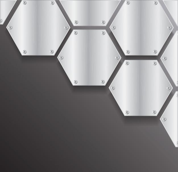 Placa de metal hexagonal y espacio.