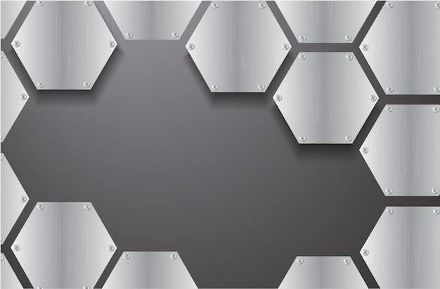 Placa de metal hexagonal y fondo negro