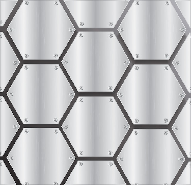 Placa de metal hexagonal fondo vector