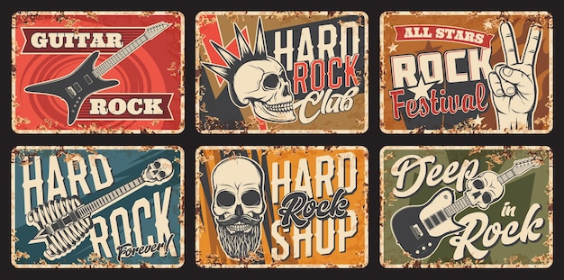 Placa de metal oxidado de la música hard rock