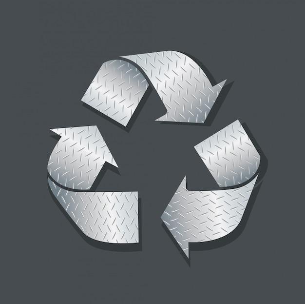 Placa metal reciclar icono símbolo vector