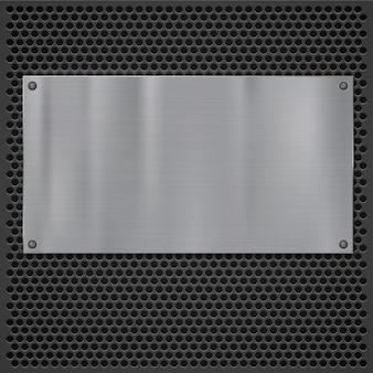 Placa de metal sobre textura de rejilla