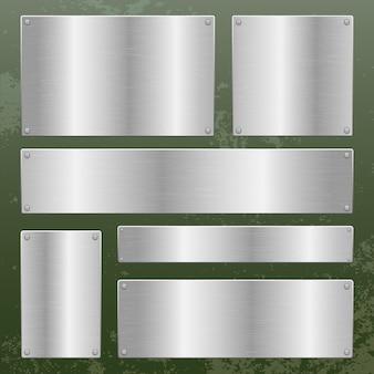 Placa metálica en la ilustración de diseño de fondo metálico
