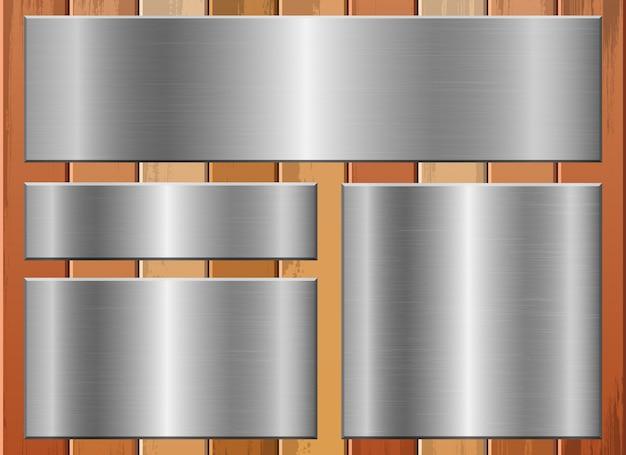 Placa metálica en la ilustración de fondo de madera