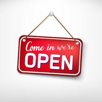 Placa roja vuelve más tarde estamos cerrados. letrero publicitario para puertas de entrada, apertura de tiendas