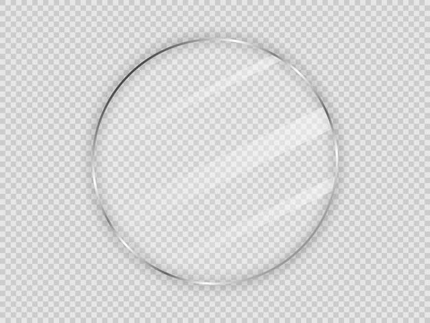Placa de vidrio en marco de círculo aislado sobre fondo transparente. ilustración vectorial.