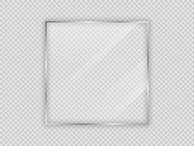 Placa de vidrio en marco cuadrado aislado sobre fondo transparente. ilustración vectorial.