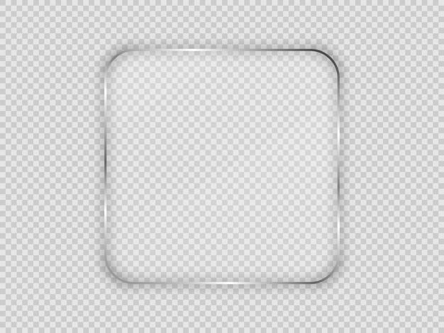 Placa de vidrio en marco cuadrado redondeado aislado sobre fondo transparente. ilustración vectorial.