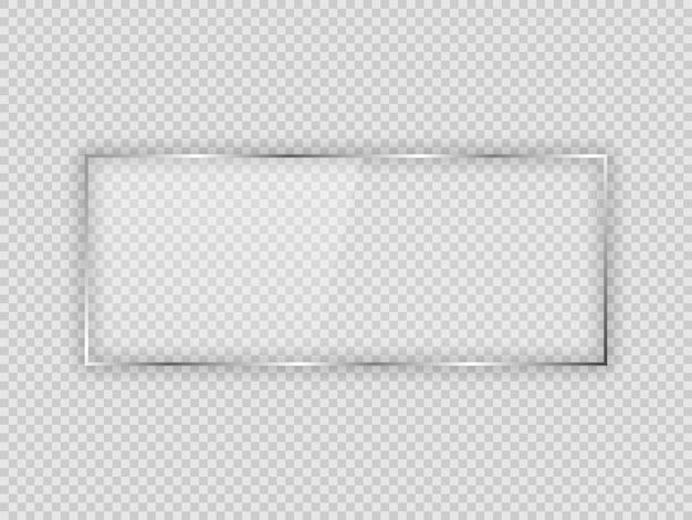 Placa de vidrio en marco rectangular aislado sobre fondo transparente. ilustración vectorial.