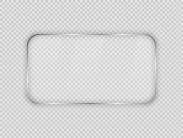 Placa de vidrio en marco rectangular redondeado aislado sobre fondo transparente. ilustración vectorial.