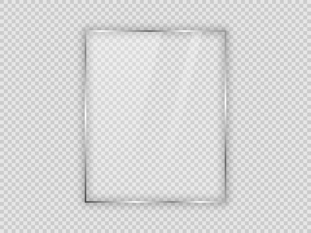 Placa de vidrio en marco vertical aislado sobre fondo transparente. ilustración vectorial.