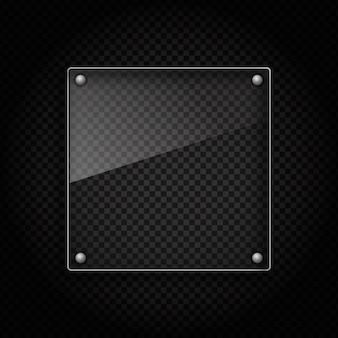 Placa de vidrio sobre fondo metálico