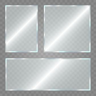 Placa de vidrio sobre fondo transparente. acrílico y textura de vidrio con resplandores y luz. ventana de cristal transparente realista en marco rectangular.