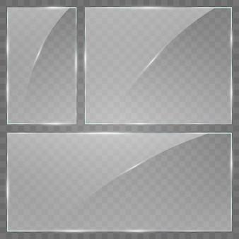 Placa de vidrio sobre fondo transparente. acrílico y textura de vidrio con resplandores y luz. ventana de vidrio aislado sobre fondo blanco.