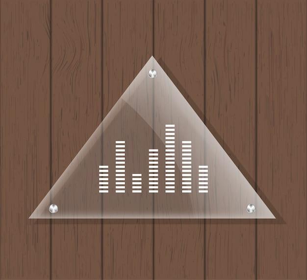 Placa de vidrio triangular en mesa de madera