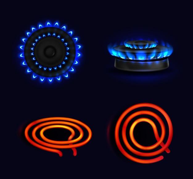 Placas de cocción, estufa de gas ardiente y bobina eléctrica, llama azul y vista superior y lateral en espiral eléctrica roja. quemador de cocina con encimeras encendidas, horno de cocción, estufas que brillan intensamente aisladas, juego 3d realista
